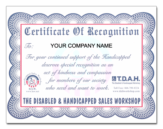 Th is certificate is presented to each company in recognition for ...